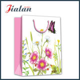 서류상 쇼핑 백을 광고하는 주문 로고 도매 디자인을 인쇄하는 꽃
