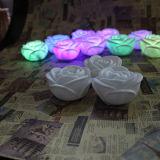 Boda sin llama de la decoración que cambia velas románticas del LED Rose