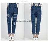 Pantalones rasgados totales de las mujeres del dril de algodón de la alta calidad de los pantalones vaqueros clásicos de las señoras