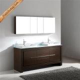 Walnuss Fed-1088, die hölzerne Furnier-Blattdoppelte Wannen-hölzerne Badezimmer-Eitelkeits-Badezimmer-Schränke beendet