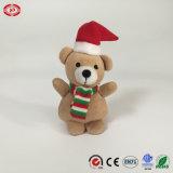 Luxuoso bonito bege brinquedo relativo à promoção enchido de Keychain do urso de Christamas