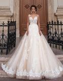 Линия/Princess V Шея Отвесн Назад Tulle/платье венчания шнурка с Appliques