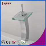 Кран смесителя Wasserhahn воды Faucet тазика мытья Spout квадрата хромового стекла ручки высокой дуги Fyeer одиночный