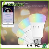 Smartphone a contrôlé l'ampoule sèche changeante du WiFi DEL de couleur multicolore de Dimmable d'éclairage de DEL avec E27 9W