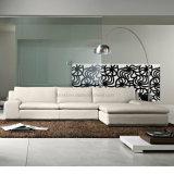 Sofá de madera del cuero blanco de las piernas de los muebles laterales del restaurante (UL-NSC025)