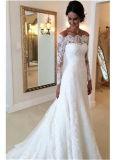 fora do vestido de casamento nupcial Ld16316 do laço do vestido de casamento do ombro