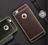 Плакировка TPU новой роскошной кожаный картины Litchi iPhone аргументы за телефона Electro приспособленное крышкой