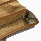 Bolso de totalizador lavado del encierro de la cremallera del color de papel de Kraft (16A085)