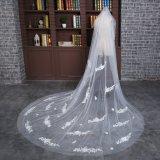 Brandnew длина собора вуаль цвета слоновой кости венчания в 3 метра с шнурком листьев
