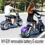 Самокат тучной автошины электрический с съемной батареей