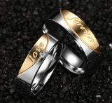 2017 anéis de aço Titanium do ouro novo