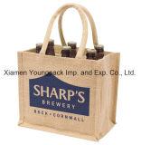 Sacola de transporte de vinho de serapilheira natural reutilizável personalizada e impressa personalizada