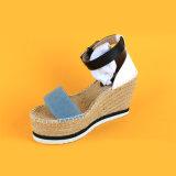 Blu marino delle donne e scarpe di tela spagnole bianche dei sandali del cuneo della cinghia di Ankel