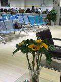新しいデザイン在庫のクッションが付いている鋼鉄椅子の高品質の公立病院の訪問者の椅子3のSeater空港椅子