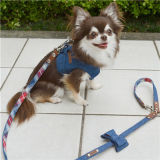Personnaliser Pet Products Jeans Blue Cotton Dog Harness with Leash