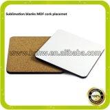 Transfert de chaleur en blanc Produits de sublimation bon marché MDF Coaster with Cork