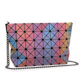Rainbow PU Metal Strap Zipper Lady Handbag (A0111)
