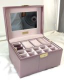 Caixa de jóia de couro luxuosa do plutônio com os dois entalhes do relógio