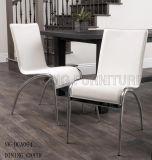 椅子(NK-DCA073)を食事する贅沢で簡単な白革のスタック可能ステンレス鋼