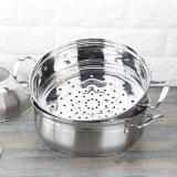 Combinación multicolora del crisol y del vapor de la sopa de la parte inferior doble del acero inoxidable (FT-02012)