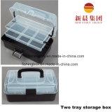 carcaça da cor 2-Tray e caixa de armazenamento pretas da pesca