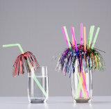 Paille flexible en plastique avec la décoration de paume