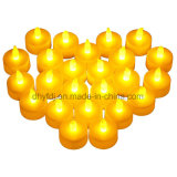 12PCS Yellow Flickering LED Lampes à thé sans flamme avec batterie incluse