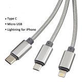 Multi USB-aufladenkabel 3FT 3 in 1 mehrfaches USB-Aufladeeinheits-Kabel-aufladennetzkabel mit USB-Typen C/8pin Blitz/Mikro-USB-Verbinder für IOSAndroid
