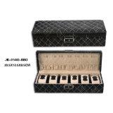 Dubbel MDF Frame Bekleed in Doos/het Geval van het Leer van de Opslag de Zwarte met Slot 2xslots voor de Juwelen & het Horloge van Juwelen