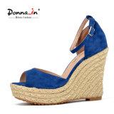 (Donna-в) сандалии женщин клина веревочки планки лодыжки замши малыша способа