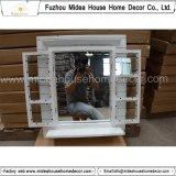 Capítulo de madera blanco antiguo tallado diseño del espejo del obturador de la ventana (en existencias)