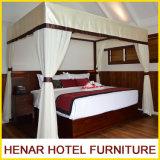 Muebles de cinco estrellas del hotel de la cama imperial de la teca del centro turístico de madera de la base