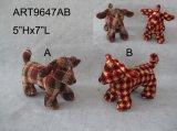 """5 """" Hx7 """" L florales y perrito de la trenza, decoración 2asst-Christmas"""