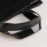 大型の防水PVCショッピング・バッグの黒のハンドバッグ(H013-1)