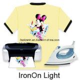 Alta qualidade Ferro-no papel de transferência térmica da luz do Inkjet para o t-shirt