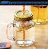 Garrafa de vidro colorido com tampa e alça