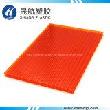 Placa de telhado de policarbonato de parede dupla colorida com revestimento UV
