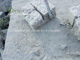 庭のテラスの灰色の花こう岩のペーバー、玉石