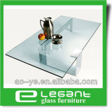 Tavolino da salotto della parte superiore di vetro Tempered della radura di rettangolo con la base nera del ferro della pittura