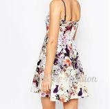 方法美しい花の印刷のカスタムイブニング・ドレスはとの首をV沈める