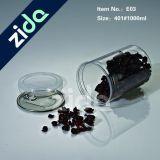 Tarro del caramelo de la categoría alimenticia animal doméstico plástico con rosca de aluminio tapa de plástico del casquillo
