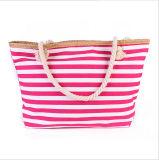 新しい女性のパッケージ浜袋のショルダー・バッグの夏新しい海軍しまのあるキャンバス浜袋のショッピング・バッグ