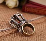Neue Retro persönliche eingelegte Diamant-Ring-Kronen-Form-Kristallform-Schmucksachen