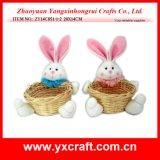 イースター装飾(ZY14C851-1-2)のイースターのウサギのギフトの使用のバスケットの装飾