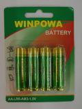 Pila seca alcalina teledirigida de la batería 1.5V AA Lr6 de la TV