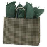 Green Gingham Printed Shoppers Sac à papier en papier Kraft coloré Sac à papier personnalisé