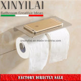 Cuarto de baño cromo titular de papel higiénico doble con cubierta