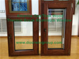 America Oak Wood Tilt Turn Window with Built-in Blinds, Double Glazing Tilt & Turn Window with Imported Hardware