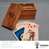 Rectángulo de regalo de madera de lujo de la insignia de encargo del precio de fábrica de Hongdao para la tarjeta del póker de Tarot con deslizar el _E de la tapa