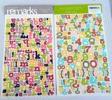 Cardstock Zeichen-Aufkleber/handgemachte gestempelschnittene Alphabet-Papierfertigkeit-Aufkleber
